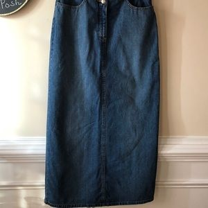 Halogen Long Jean Skirt with Pockets - Medium Wash